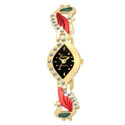 Jainx Kundan Style Golden Analog Watch for Women & Girls JW562