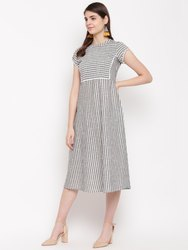 Stripes Yarn Dyed Grey Kurta HC750 Cotton