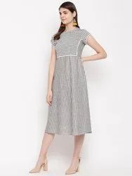 Stripes Grey Dress in Cotton