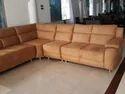 Wooden Brown Wood L Shape Sofa Set