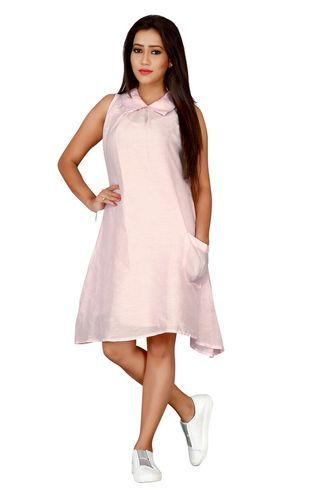 Light Pink Line Georgette Linen Georgette Casual Dress 16b78278acf9