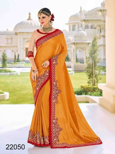 b7d14225b5 Moss Chiffon Fancy Mustard Color Floral Patch Work Saree, Rs 1260 ...