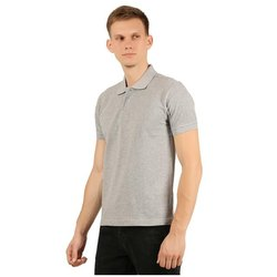 Mens Grey Plain Polo Neck T-Shirt