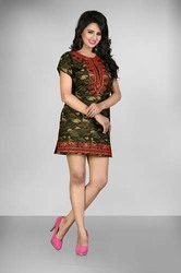 Army Print Dress Top with Embroidery