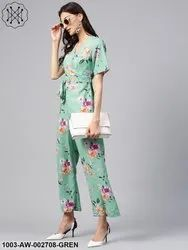Floral Overlapping Jumpsuit