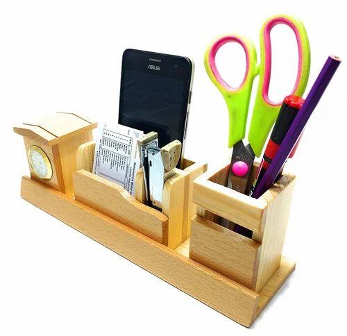 Calender World Time Alarm Clock And Calculator Desk Set With Pen Holder Fine Quality
