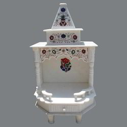 Indoor White Marble Carved Temple
