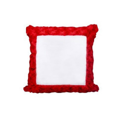 Red And White Satin Red Square Fur Pillow