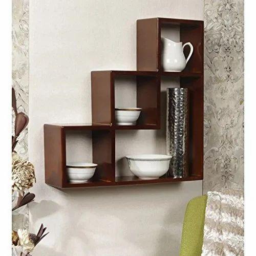 L Shape Wooden Wall Shelf