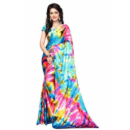 ecb6b9bef2 Satin Floral Print Saree With Blouse Piece, Rs 899 /piece | ID ...