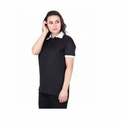 UB-D-Tee-04 Black & White Designer Polo T-Shirt For Female