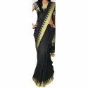 Black and Golden Plain Linen Saree
