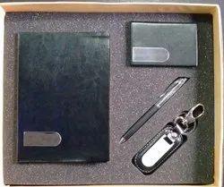 AV Enterprises Dairy Set 4 in 1 Personalized Pen, Diary, Cardholder And Leather Key Ring