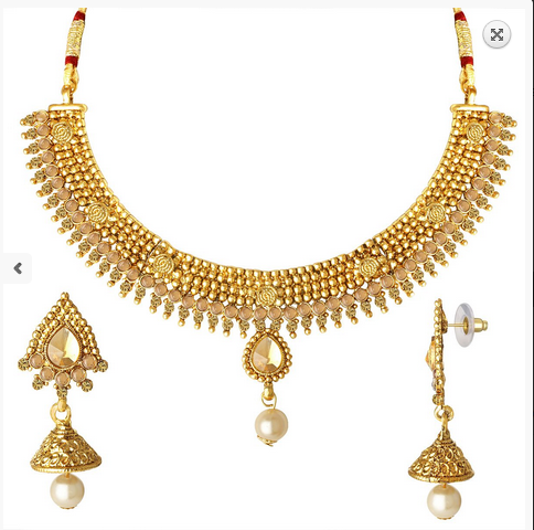 Gold Spargz New Design Choker Necklace Set For Women Ains 237