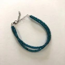 Bracelet Natural London Blue Topaz Gemstone Rondelle Beads Bracelets Silver