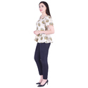 Lavanya Cotton Slub Bird Print Frill Top with Rayon Straight Pant