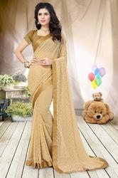 Georgette Fashion Arrival  Stone Work   Light Chikoo  Color