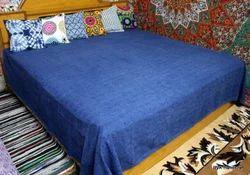 Indigo Blue Hand Block Jaipuri Printed Bed Sheet