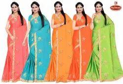 Dyed Rangoli Silk Embroidery & Diamond work Saree - Roohi