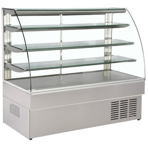 Stainless Steel and Glass Curved Cold Display Counter, For Sweet Shops, Bakery Shops