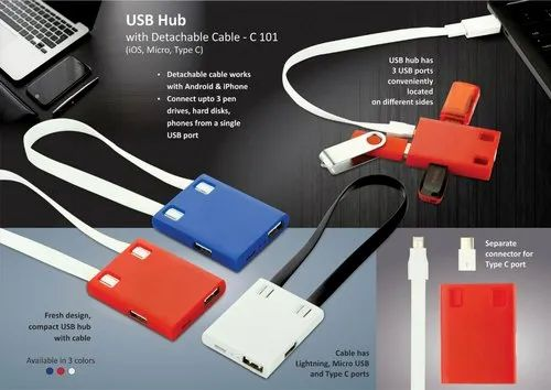Micro USB Hub With Detachable Cable Ios Micro Type C 3 Ports