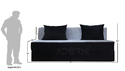 Adorn India Easy 3 Seater Sofa Cumbed ( Black & Grey)