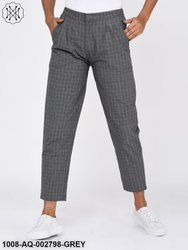 Front Pleated Grey Check Trousers for Women