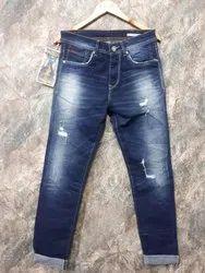 Mens Faded Stretch Denim Jeans