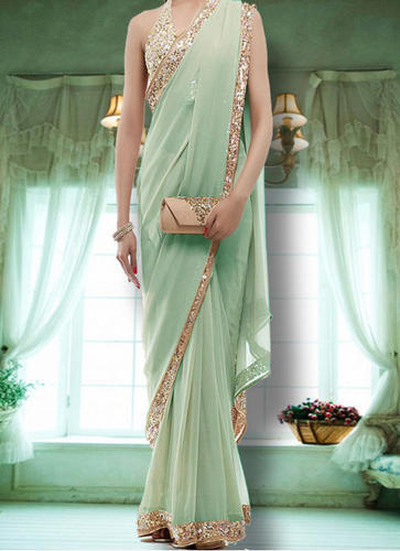 1954ace031 Multi Work New Light Green Georgette Designer Party Wear Saree, Rs ...