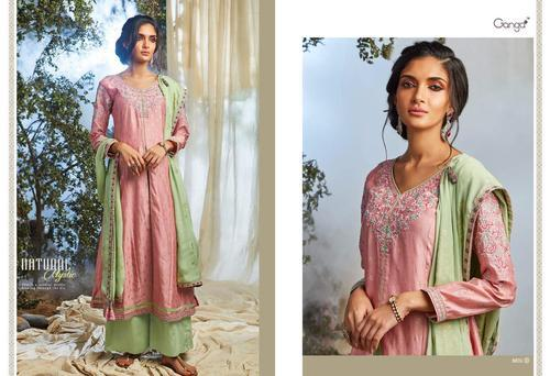 2a0737e5b5 Pure Kora Silk Natural Mystic Ganga Ethnic Wear Embroidery Work Suits