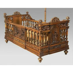 Brown Wooden Carved Baby Bed