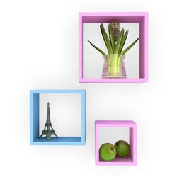 Pink,Blue Wooden Square Wall Cube Shelves, For Home, 3