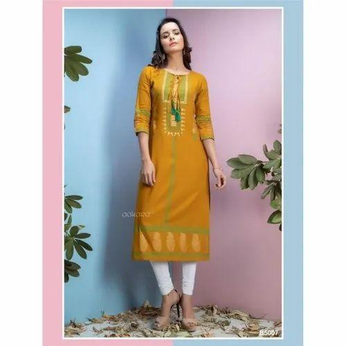 5317b9866e Formal Wear Printed Aakara Basics Vol 5 Rayon Kurti, Rs 480 /piece ...
