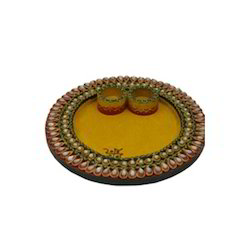 Wooden Paper Mache Round Shape Pooja Thali