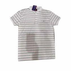 Mens Cotton Collar Striped T Shirt