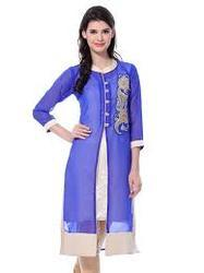 Purple and White Georgette Suit