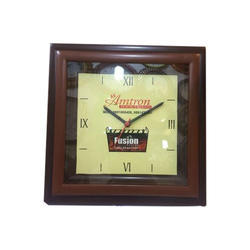 Square Brown Wall Clock