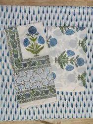 Mugal Buta Floral Hand Block Print Cotton Cambric Suit Set