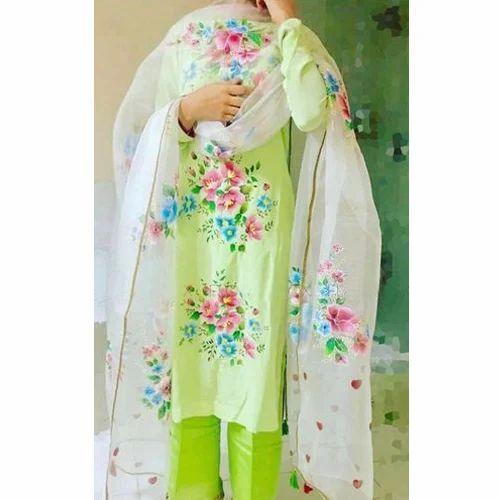 f8447c282d Ladies Cotton Designer Hand Paint Block Unstitched Suit, Rs 3000 ...