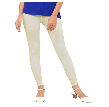 bd71a76db0bdc Plain Off White Color Cotton Lycra 4-Way Stretchable Leggings, Rs ...