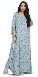 Blue Color Floral Printed Decent Kaftans