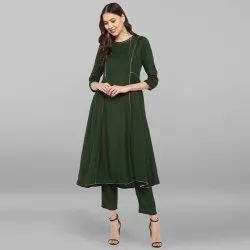 Dark Green Rayon Slub Kurta With Pant(SET118)