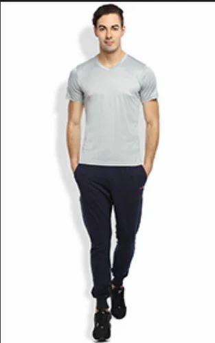 0f00d051e V- Neck Half Sleeves Gym Wear Grey T- Shirt, वी गले की टी ...