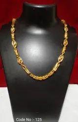 Brass Die Gold Polish Hallow Chain, Size: 21 Inch