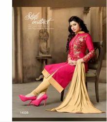 Pink Casual Wear Chanderi Cotton Salwar Kameez-sparxz23