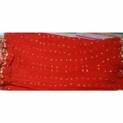 Red Casual Ladies Georgette Bandhej Saree, 5.5 M (separate Blouse Piece)