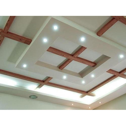 White And Brown False Ceiling Designs Gypsum Board