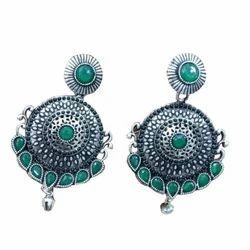 Golden,Light Blue Oxidised Earrings