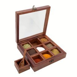 AL-Crafts Brown Wooden Spice Box Container