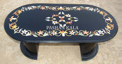 Marble Inlay Oval Coffee Table Top
